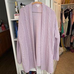 Lavender Oversized Chunky Knit Cardigan